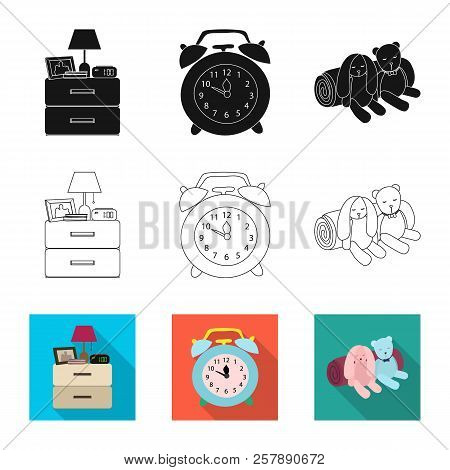 Vector Illustration Of Dreams And Night Sign. Collection Of Dreams And Bedroom Vector Icon For Stock