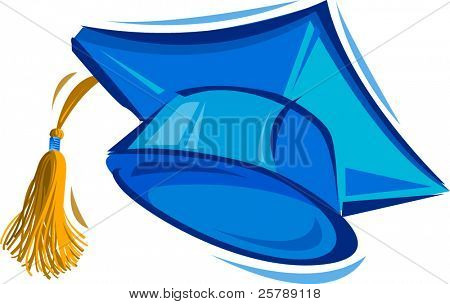 Vector Illustration of a Blue Graduation Cap
