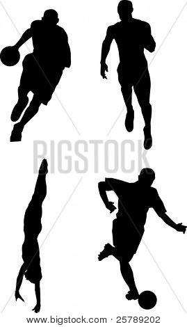 Silhouettes of 4 people paying sports. Basketball, Running, Swimming, Soccer.