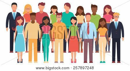 Group Of Working People Standing On White Background. Business Men And Business Women In Flat Design