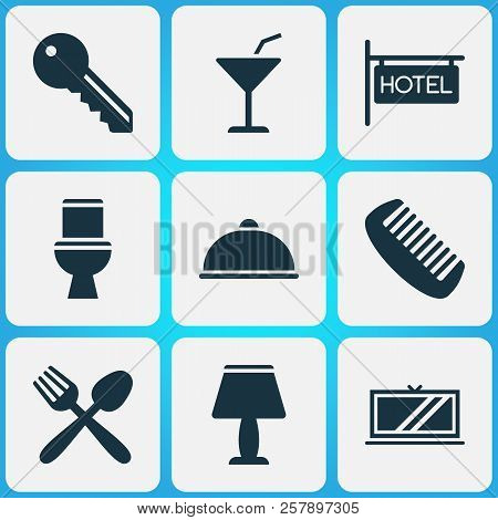 Tourism Icons Set With Key, Cocktail, Tv And Other Wc Elements. Isolated  Illustration Tourism Icons