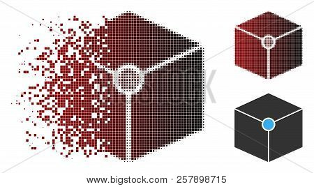 Cube Vertex Icon In Dispersed, Pixelated Halftone And Undamaged Whole Versions. Pixels Are Organized