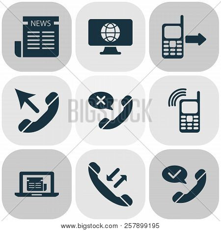 Communication Icons Set With Online News, Mobile Connection, Cancel Call And Other Computer Communic