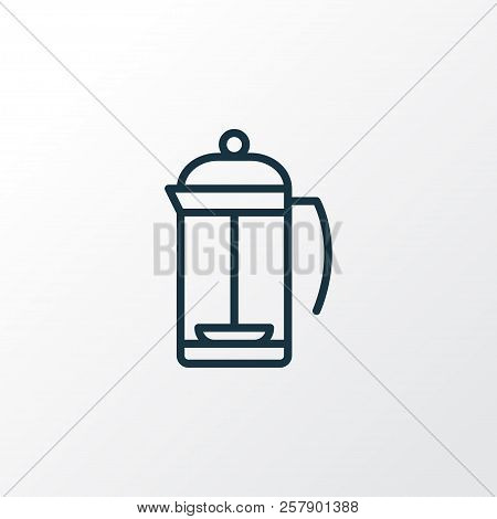 French Press Icon Line Symbol. Premium Quality Isolated Teatime Element In Trendy Style.