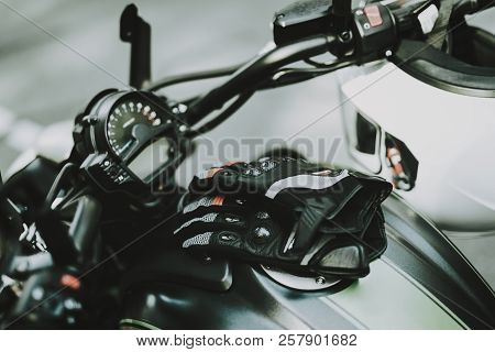 Black Speed Motorcycle Concept. Front Camera View. Ready To Ride. Power Engine. Leather Seat. Motorb