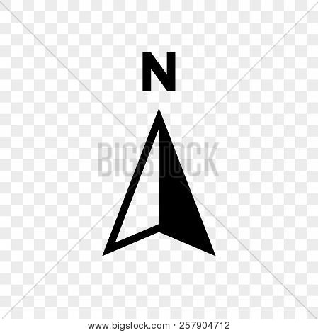 North Arrow Icon Or N Direction Point Symbol. Vector Logo For Gps Navigator Map Isolated On Transpar