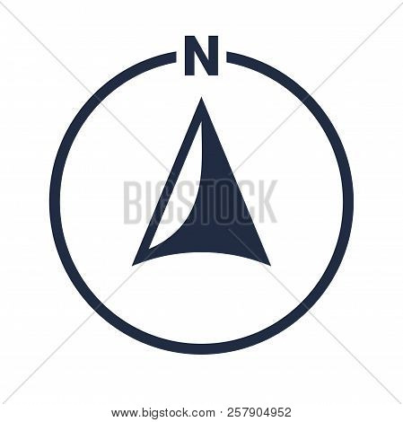 North Arrow Icon Or N Direction And Navigation Point Symbol. Vector Logo In Circle For Gps Navigator