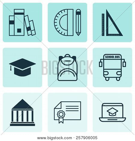 Education Icons Set With Certificate, Backpack, Online Education And Other Education Tools Elements.