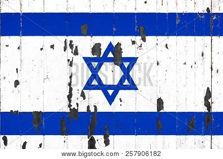 National Flag Of Israel On The Background Of An Old Mettale Covered With Peeling Paint