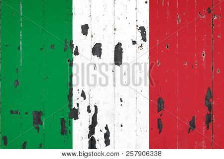 National Flag Of Italy On The Background Of An Old Mettale Covered With Peeling Paint
