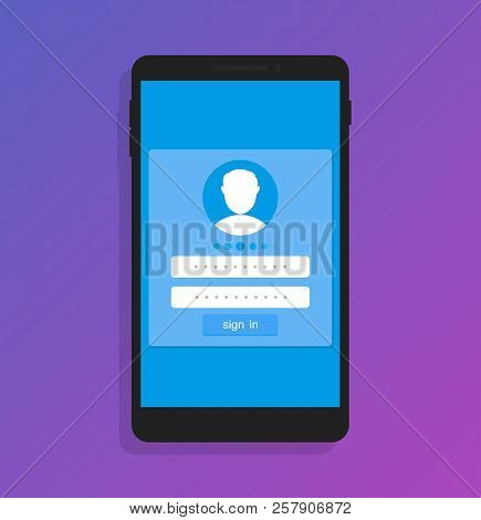 Login To Application Account On Smartphone, Flat Design Style Isolated On Ultraviolet Background. Ve