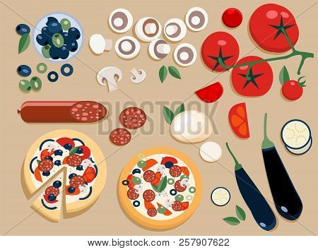 Flat Pizza Ingredients Set Entire And Cut Into Pieces: Olives, Mushrooms, Tomato, Salami, Mozzarella