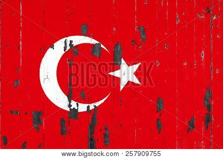 National Flag Of Turkey  On The Background Of An Old Mettale Covered With Peeling Paint