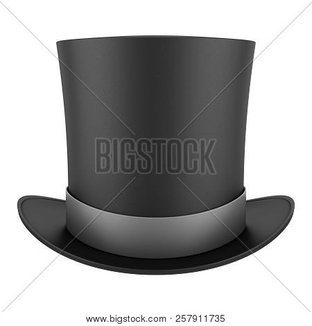 Black Top Hat With Gray Strip Isolated On White Background. 3d Illustration
