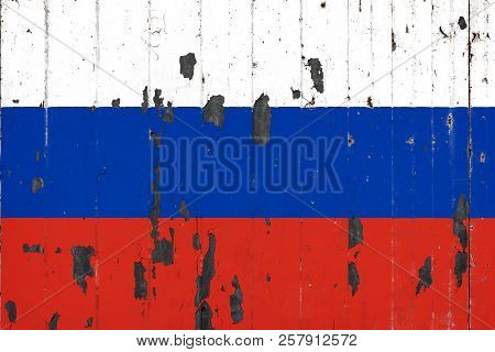 National Flag Of Russia On The Background Of An Old Mettale Covered With Peeling Paint