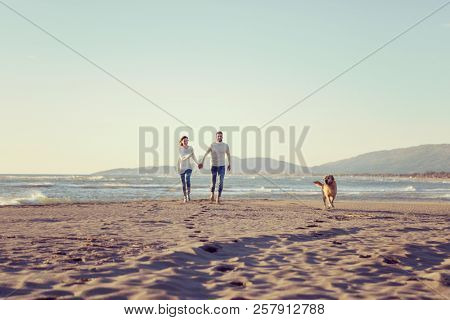 Couple Running On The Beach Holding Their Hands with dog On autmun day