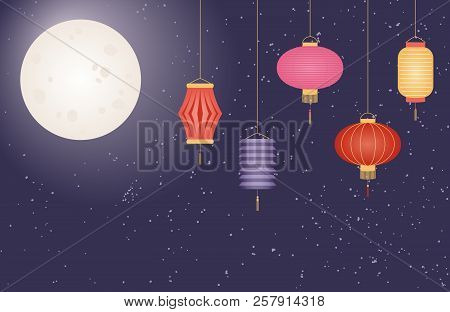 Mid autumn festival vector photo free trial bigstock mid autumn festival greeting card poster banner background design with full moon m4hsunfo