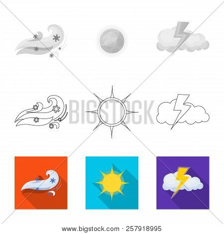Isolated Object Of Weather And Weather Logo. Collection Of Weather And Application Stock Symbol For