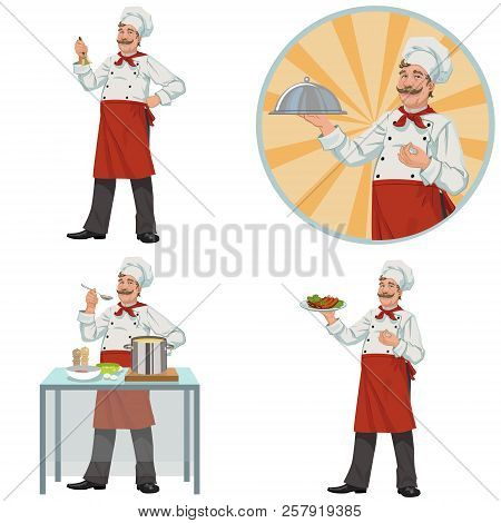Good Smiling Chef Offers To Taste Delicious Food .set Of Four Illustrations