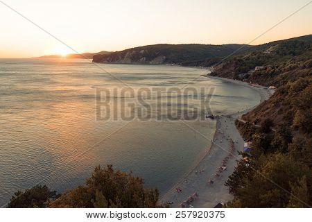 Beautiful Sea Bay At Sunset, Top View.