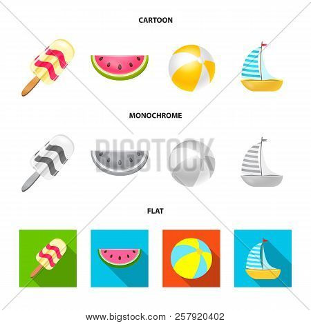 Vector Design Of Equipment And Swimming Symbol. Set Of Equipment And Activity Stock Vector Illustrat