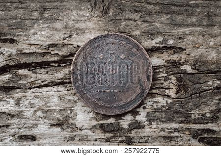 Old Coin 5 Kopeks 1857 Year Of Russian Empire On Wooden Table Background.