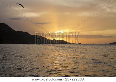 Sunset In The Beach In Rio Caribe, Venezuela