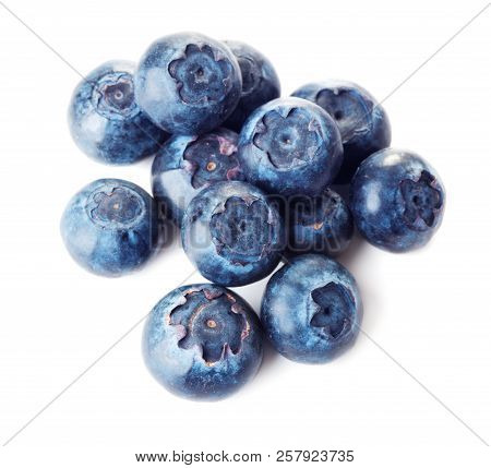 Heap Of Fresh Blueberries Isolated On White Background