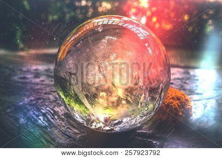 Beautiful Crystal Ball Or An Abstract Circle. Magic Ball. Glass Ball.