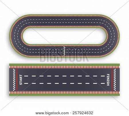 Kart Race Background. Top View. Line Asphalt And Circular Track Roads. Finish And Start Lines