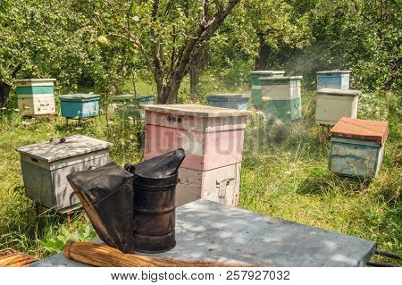 Smoker On The Beehive In The Garden