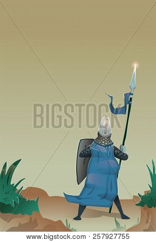 Medieval Knight With Shield And Spear Standing At The Edge Of Precipice. Flat Vector Illustration, V