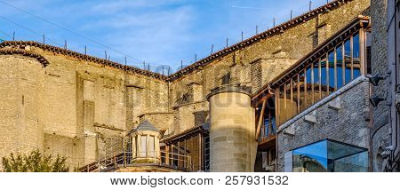Detail Of The Upper Back Part Of A Very Old Stone Church Located In The Old Town Of Vitoria, Spain W