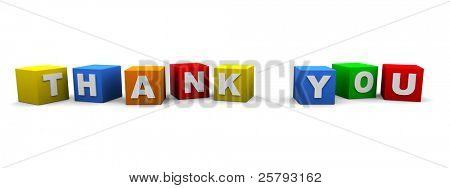 Würfel mit einem Brief darauf schreiben das Wort 'Thank You'