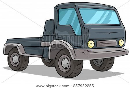 Cartoon Gray Delivery Transportation Onboard Cargo Truck With Big Wheels. Isolated On White. Vector