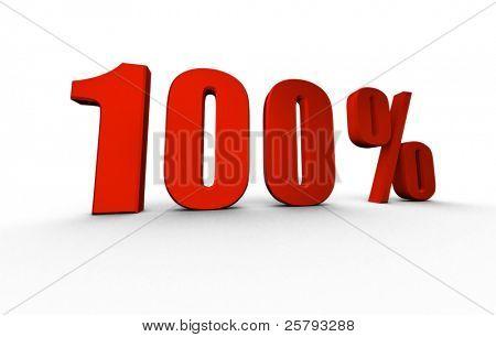 onehundred percent isolated on white background