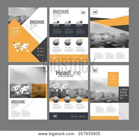 Six Flyer Marketing Templates With Photo, Text And Map. Sale Brochure Layout Vector Set For Business