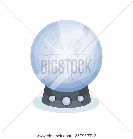Flat Vector Icon Of Soothsayer S Crystal Ball. Magic Sphere On Gray Stand. Object For Prediction Of