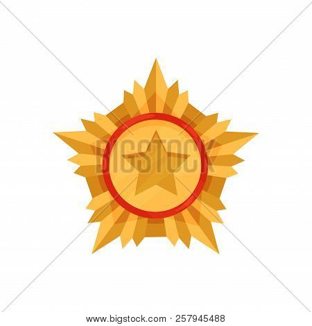 Golden Military Medal. Honorable Award For Courage And Valor. Gold Star Order. Army Reward. Flat Vec