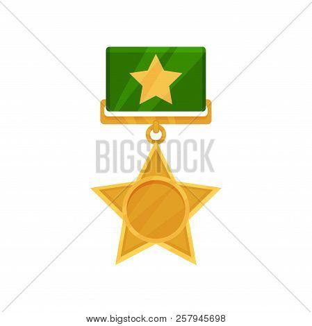 Shiny Star Shaped Medal With Green Ribbon. Military Golden Award. Reward For Bravery And Valor. Flat