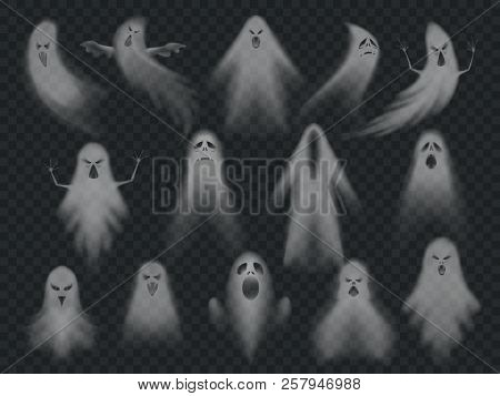 Transparent Ghost. Horror Spooky Ghosts, Halloween Night Ghostly Ghoul. Scary Phantom Vector Illustr