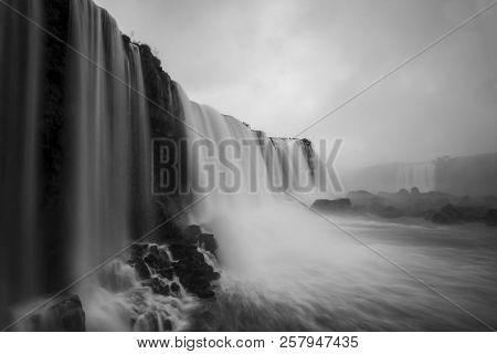 Iguazu Falls Or Iguacu Falls, Devil's Throat Or Garganta Del Diablo, Seen From The Viewpoint At Igua
