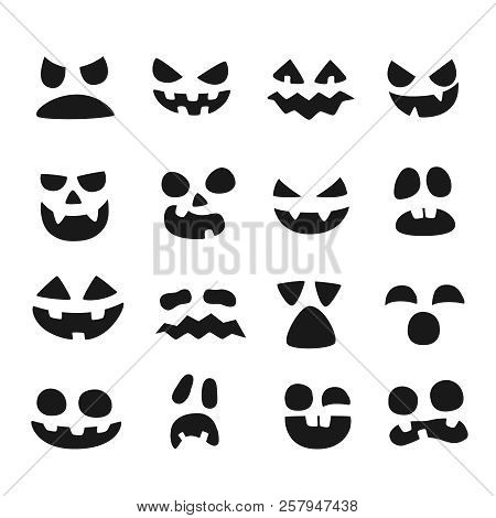 Pumpkin Faces. Halloween Evil Devil Face. Scary Smile Mouth, Spooky Nose And Pumpkins Eyes Vector Il