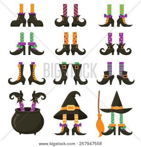 Scary Witch Legs. Halloween Witches Leg Stockings And Striped Dress. Vintage Witchcraft Cauldron And