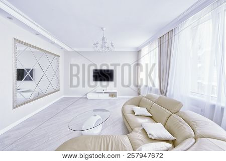 The Interior Of A Modern Apartment In White.
