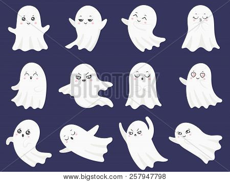Cute Halloween Ghosts. Frightened Funny Ghost, Curious Spook And Smiling Ghostly Character Cartoon V