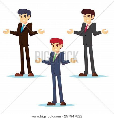 Thinking Businessman Standing Shruging. Young Caucasian Business Man Thinking. Thinking Business Man