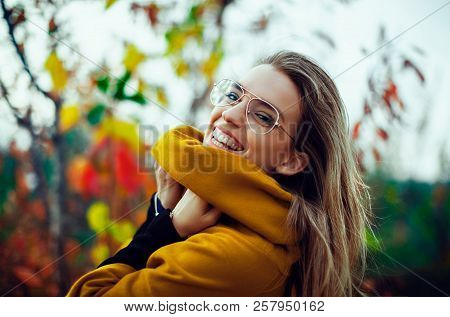 Woman Smile In Autumn With Leaves, Fall