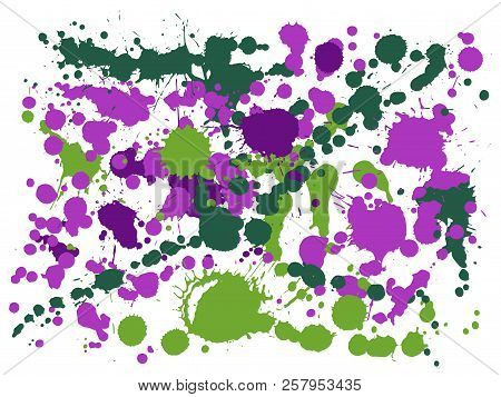 Watercolor Paint Stains Grunge Background Vector. Rusty Ink Splatter, Spray Blots, Mud Spot Elements