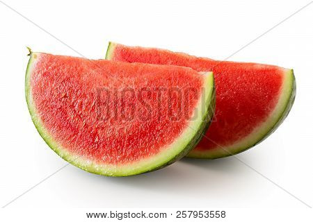 Two Wedges Od Seedless Watermelon  Isolated On White.